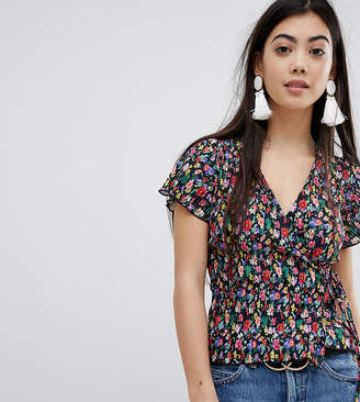Missguided Petite Plisse Floral Wrap Over Top
