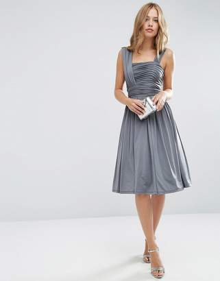 Asos DESIGN Bridesmaid slinky ruched midi dress