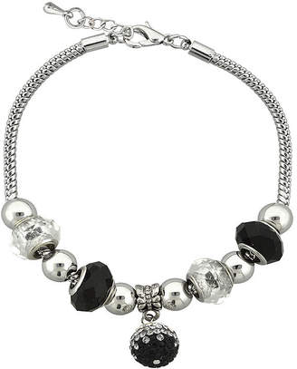 SPARKLE ALLURE Dazzling Designs Black Glass Bead Silver-Plated Fireball Drop Bracelet