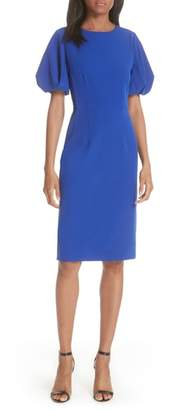 Milly Kyle Puff Sleeve Cady Sheath Dress