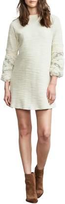 Maternal America Faux Fur Trim Maternity Dress