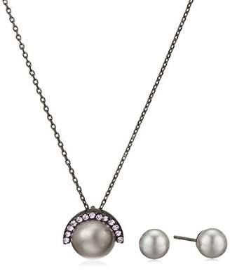 Kenneth Cole Pearl Mix Pearl Pendant Necklace and Stud Earrings Set