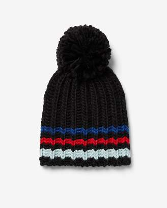 Express Striped Pom Beanie