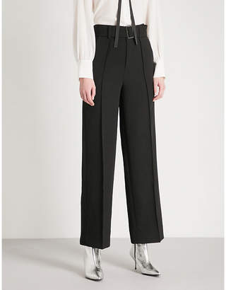 Mo&Co. Straight-leg crepe trousers