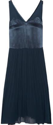 By Malene Birger Carrol Pleated Chiffon And Satin Midi Dress - Storm blue