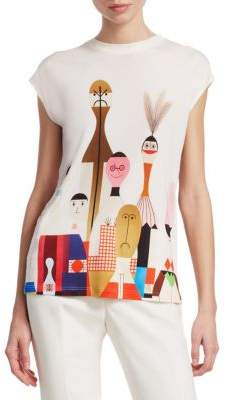 Akris Silk Doll-Print T-Shirt
