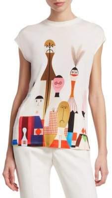 Akris Silk Doll-Print T-Shirt