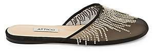 ATTICO Women's Gina Netted Crystal Slip-On Flats