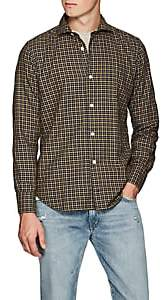 Eleventy Men's Checked Cotton Twill Shirt - Black Pat.