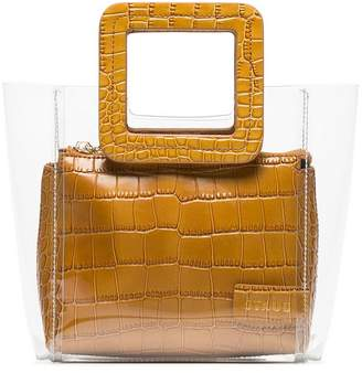 Staud camel Shirley mini crocodile embossed leather PVC tote