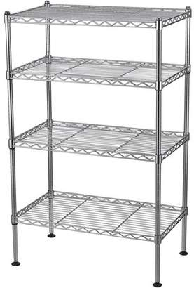 "Edsal Muscle Rack 20""W x 12""D x 32""H Four-Level Wire Shelving, Chrome"