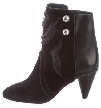 Isabel Marant Suede Round-Toe Ankle Boots Black Suede Round-Toe Ankle Boots