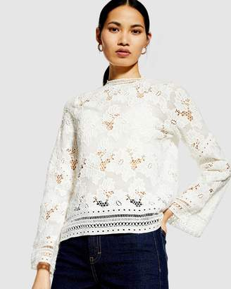 Topshop Lace Floral Long Sleeve Top