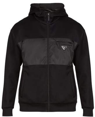 Prada Logo Applique Hooded Track Top - Mens - Black