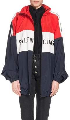 Balenciaga Zip-Front Colorblocked Logo Nylon Jacket
