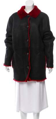 Gianfranco Ferre Shearling Button Front Coat