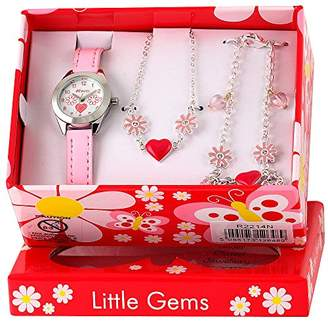 Ravel 'Little Gems' Hearts and Flowers Watch and Silver Plated Jewellery Set.