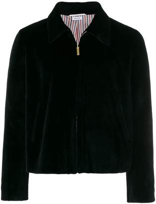 Thom Browne Double Welt Pocket Zip Up Jacket In Dyed Sheared Mink With Red, White And Blue Mink Intarsia Stripe