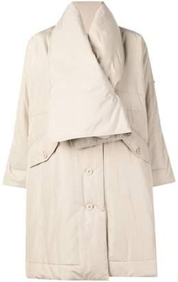 Pleats Please Issey Miyake padded collar coat
