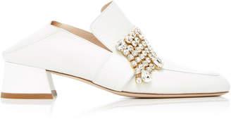 Stuart Weitzman Leather and Crystal Irises Heeled Slipper Loafers