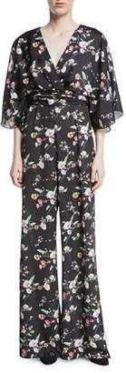 Theia Kimono Floral V-Neck Jumpsuit