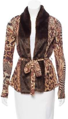 Alberto Makali Faux Fur-Trimmed Leopard Print Cardigan w/ Tags