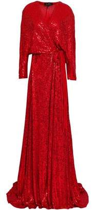 Jenny Packham Sequined Silk-georgette Wrap Gown