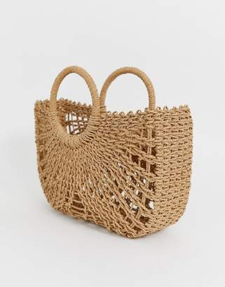 Asos Design DESIGN straw open weave basket bag