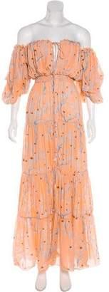 Johanna Ortiz Silk Off-The-Shoulder Dress w/ Tags