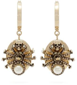 Alexander McQueen Spider Embellished Drop Earrings - Womens - Silver