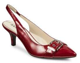 Anne Klein Leather Buckle Slingback Pumps