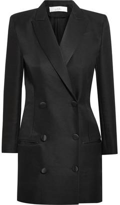 IRO - + Anja Rubik Quiya Satin-trimmed Wool And Silk-blend Mini Dress - Black $900 thestylecure.com