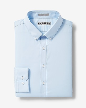 Express Classic Solid Button-Down Wrinkle-Resistant Performance Dress Shirt