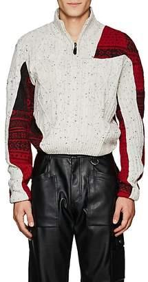 GmbH Men's Patchwork Quarter-Zip Sweater