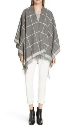 Eileen Fisher Check Alpaca Poncho Wrap