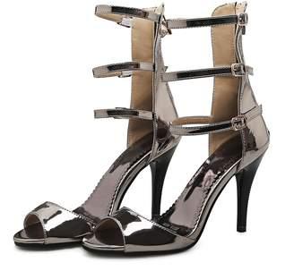 Mini Women's High Heeled Stiletto Ankle Strap Zip Peep-toe Grecian Sandals(10,)