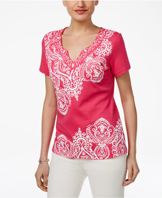 Karen Scott Paisley-Print Beaded Top, Only at Macy's $32.50 thestylecure.com
