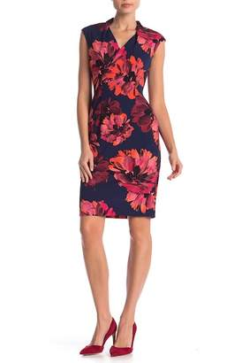 London Times Cap Sleeve Floral Dress