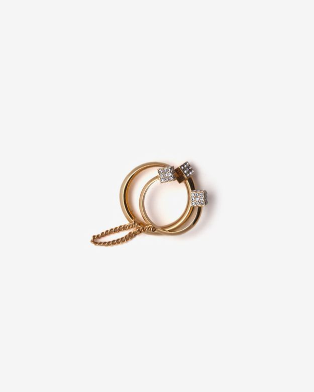 Vita Fede Crystal Eclipse/Cube Double Ring: Gold