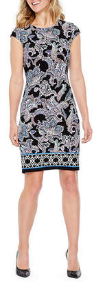 Liz Claiborne Cap Sleeve Paisley Shift Dress