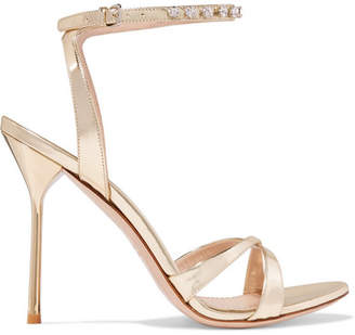 Miu Miu Crystal-embellished Metallic Leather Sandals - Gold