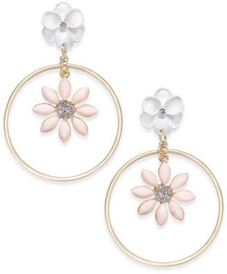 INC International Concepts I.N.C. Gold-Tone Flower Drop Hoop Earrings, Created for Macy's