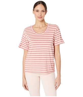 Mod-o-doc Pintuck Sleeve Easy Fit Tee in Two-Color Stripe