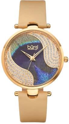 Burgi Women's Crystal Leather Swiss Watch