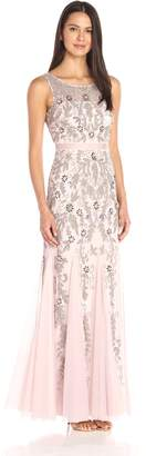 Adrianna Papell Women's Sleevless Illusion Yoke Gown with Godets