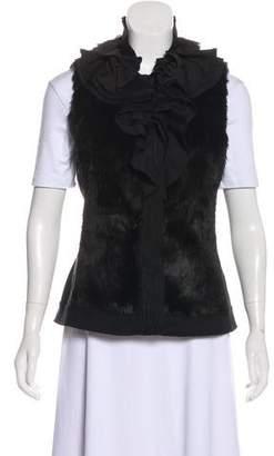 T Tahari Ruffled Faux Fur Vest