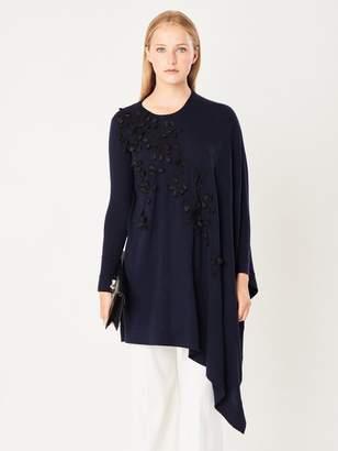 Oscar de la Renta Petal-Embroidered Asymmetric Wool Pullover