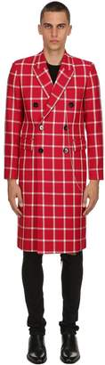 Wool Windowpane Check Coat W/ Pins