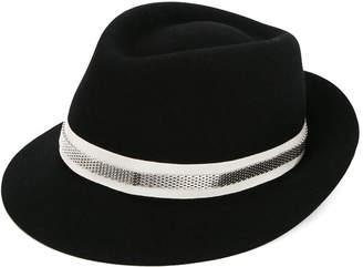 Lanvin contrast ribbon fedora hat