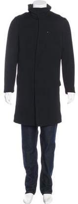 John Varvatos Hooded Wool Layered Coat
